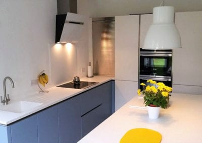 Matt White & Blue Handleless Designer Luxury Kitchen