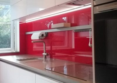 Gloss White Handleless Designer Luxury Kitchen Red Splashback