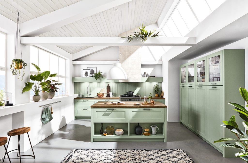 Image of a nature-inspired and bohemian kitchen design.