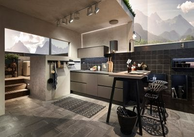 Image of a modern handleless kitchen design with subtle lighting elements from Hacker kitchens.