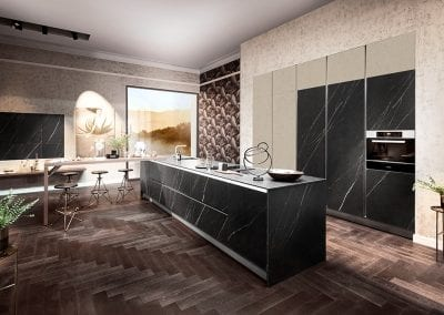 Image of a handleless kitchen design from Hacker kitchens.