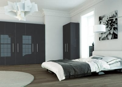 Image of a modern bedroom design in metallic anthracite.