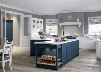 Image of the Ashbourne kitchen design in Windsor blue and white colours.