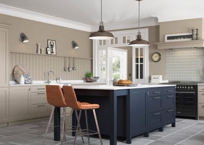 Image of the traditional Hardwick kitchen design in Oxford Blue and Farringdon Grey.