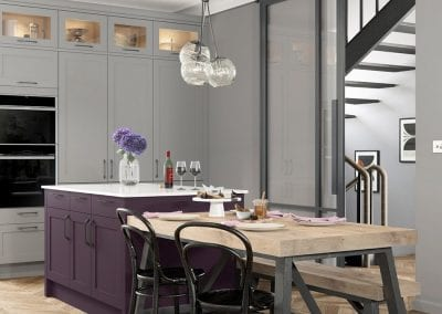 Image of the Hardwick Wisteria kitchen design in mulberry light grey.