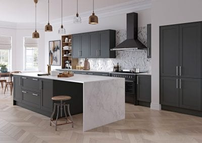 Image of a open-plan modern kitchen design with graphite and tuscan colours.