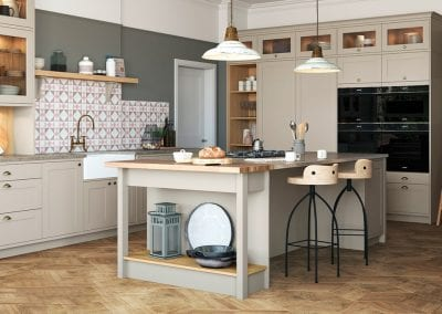 Image of the Shelford Highland kitchen design in stone and portland oak colors.