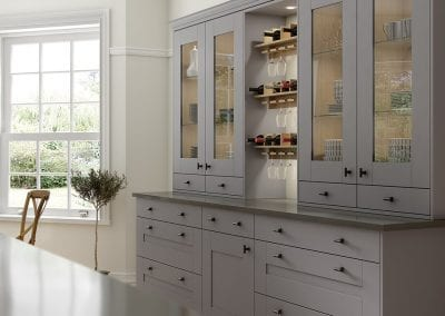 Image of a modern grey kitchen design from Wimbourne in dust grey.