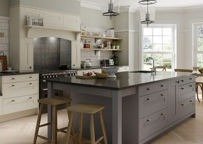 Image of the Wimbourne kitchen design in dust grey and ivory.