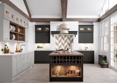 Image of a modern Wimbourne kitchen design in graphite grey and tuscan walnut colours.