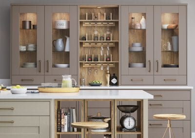 Image of the Wimbourne kitchen design in Stone grey and Portland oak.