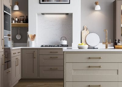 A close up image of kitchen island from the Wimbourne stone grey kitchen design.
