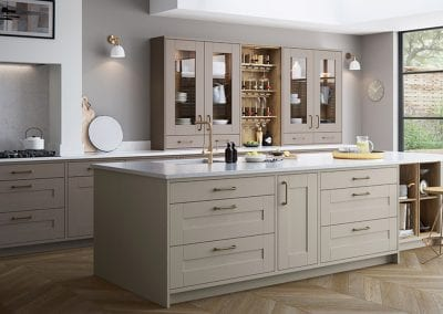 Image of a Wimbourne kitchen design in stone grey mussel colours.