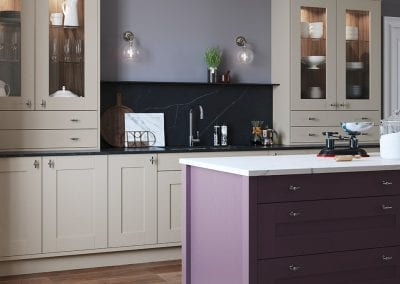 Image of the traditional kitchen design in purple and cream from Sherborne.