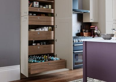 Image of the smart storage solutions and kitchen units in the Sherborne kitchen design.