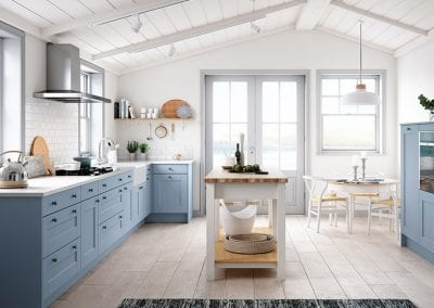 Image of the Solva oak kitchen design with light blue and white colours.