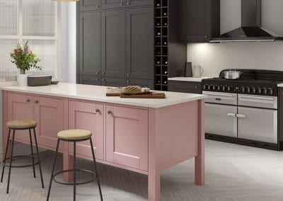 Image of the Solva kitchen design in Vintage Rose and Graphite.