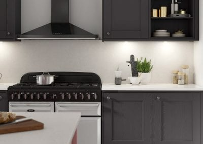 Image of a black and white kitchen design.