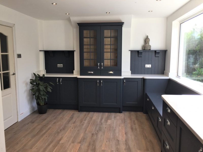 Image of the Oxford Blue wooden kitchen units with traditional style shelving.