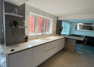 A Gloss White and Pearl Grey Kitchen