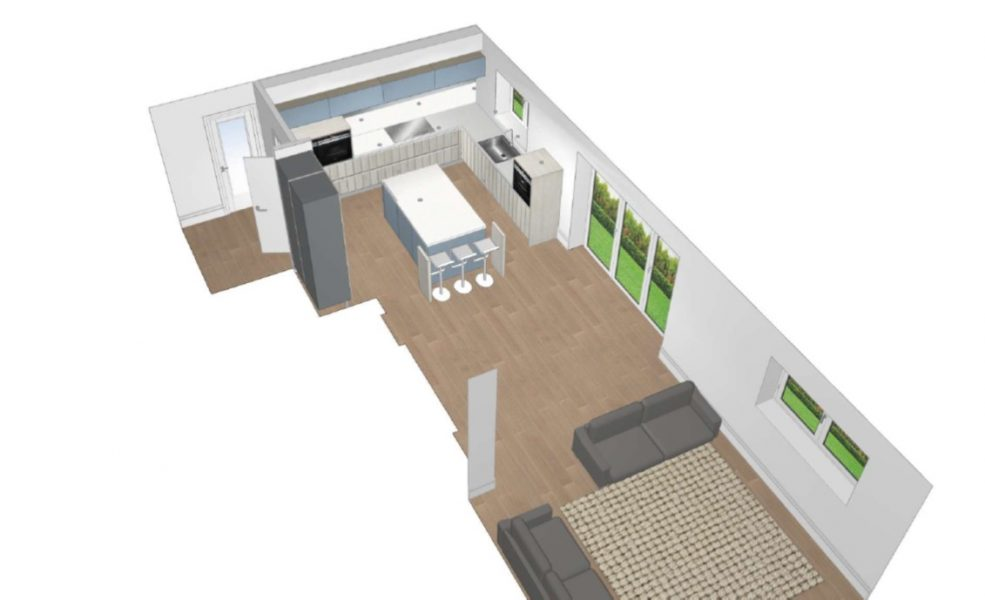 Image of a computer-generated rendering of the Nordic Oak & Coastal Blue Kitchen Design.