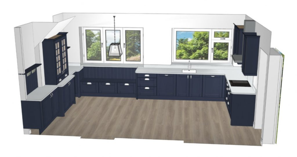 Image of a computer-generated rendering of the Oxford Blue Painted Wood Kitchen.